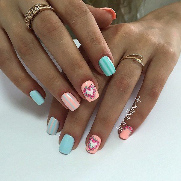 Air nails, April nails, Heart nail designs, Manicure by summer dress, Manicure on the day of lovers, Nail art stripes, Nails for love, Nails for spring dress