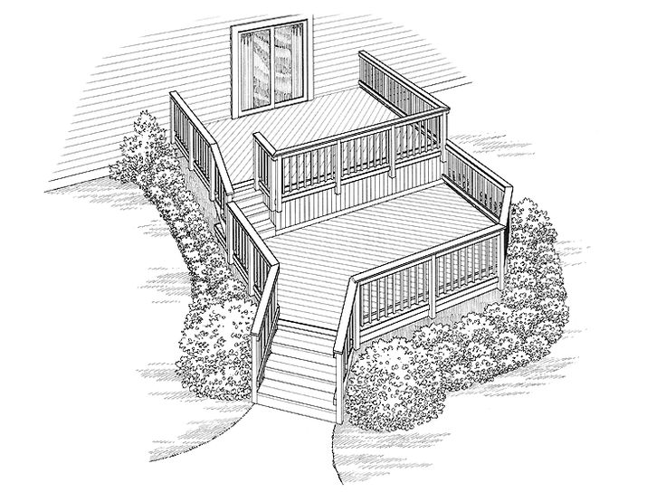 Eplans Deck Plan - Two Deck Spaces for a Sloping Lot from Eplans - House Plan Code HWEPL74958