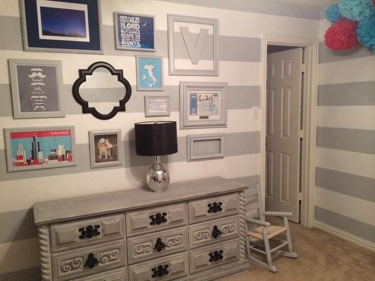Project Nursery - Vintage Dresser and Gallery Wall in this Gray and White Striped Nursery