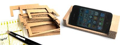 phone stand from cardboard box. tutorial here: http://www.scribd.com/doc/105469456/Vlijtig-iPhone-Stand#fullscreen