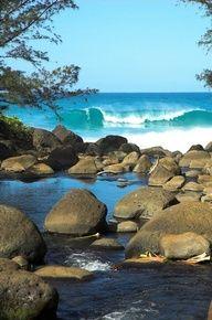 River & Ocean in Kauai, Hawaii