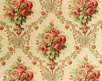 Vintage wallpaper sample from 1926 with floral pattern, pink roses - wall art, paper for craft, decoupage, collage