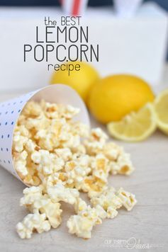 The best lemon Popcorn recipe; with white chocolate. The perfect balance of sweet, salty and citrus in one treat.
