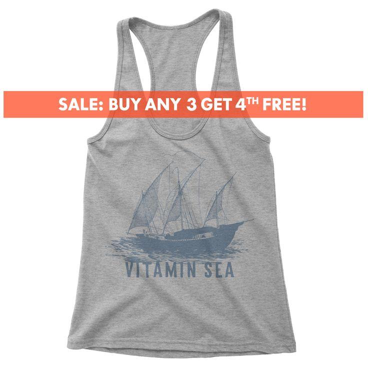 Vitamin Sea Tank top, Ladies Vintage Tank top, racerback tank top, sailing shirt, Sail Boat, American Vintage, nautical shirts, graphic tee