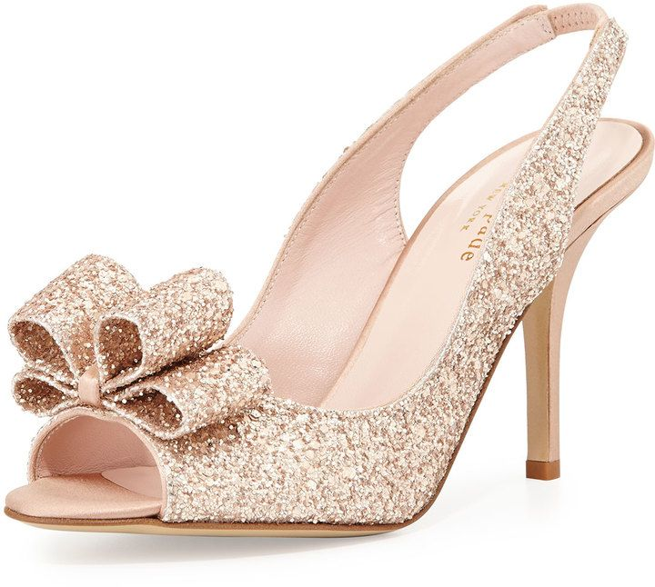Best 25 kate spade wedding shoes ideas on pinterest kate spade kate spade new york charm glittered bow slingback rose gold junglespirit Images