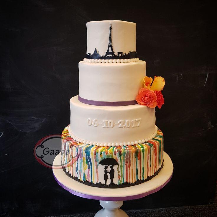 Weddingcake Rainbow colors  and Eiffel Tower.