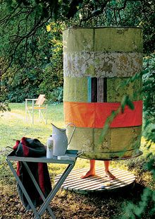 Outdoor shower - hoops and fabric to hang from a tree. Add a dressing tent next door, solar bags or fire warmed water.