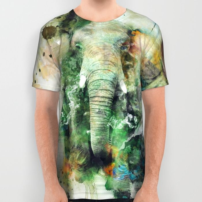 Watercolor Elephant All Over Print Shirt #elephant #animals #africa #wildlife #wild #green #yellow #splash #digitalart #society6 @Society6 #watercolor