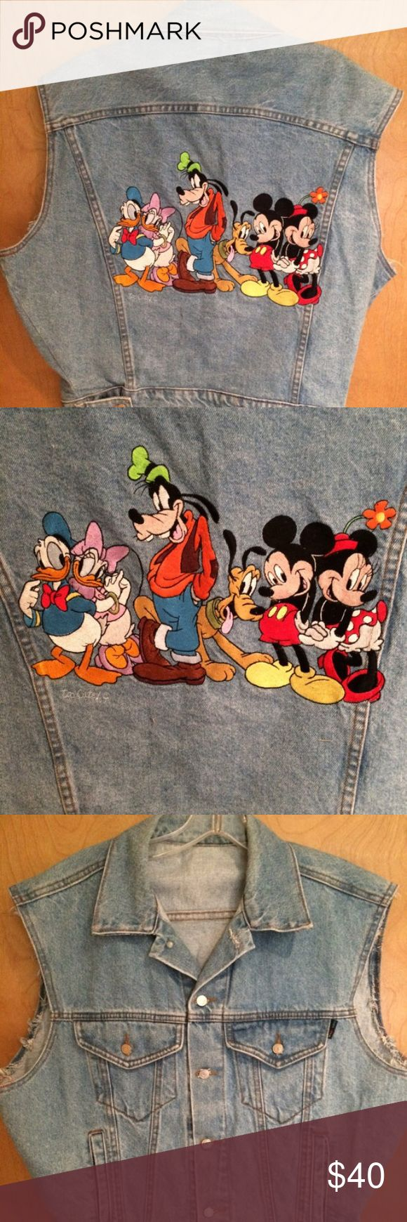 """Vintage disney mickey minnie blue jean denim vest Vtg 90s. By too cute disney. Made USA. All cotton. Awesome pic of mickey minnie and friends huge logo. 23.5"""" chest and 25"""" length. We offer bundle discounts and accept fair offers  Disney Jackets & Coats Jean Jackets"""