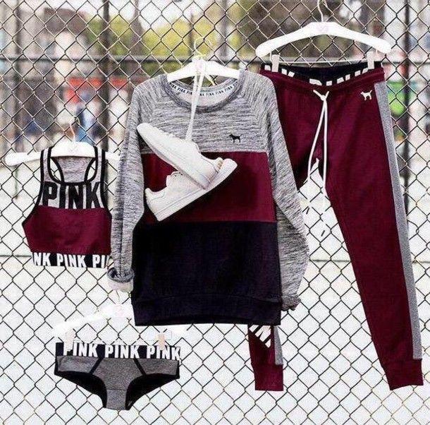 Pants: vspink pink by victorias secret burgundy sweat sports sportswear workout sports bra