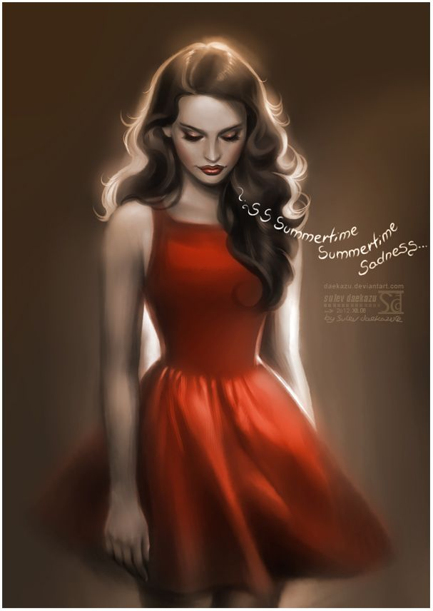 """I got my red dress on tonight. Dancing in the dark in the pale moonlight."" / Summertime Sadness by daekazu.deviantart #lanadelrey #art"