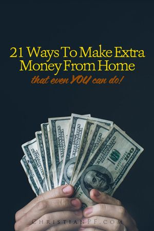 Need to make some extra money, but want to do it from home? Here are 21 ways to make some extra cash that you can do from home! ...Alright, so you're ready to earn some extra money. Perhaps you need to pay off debt or build your emergency fund. But how? No worries, here are 21 ways to earn extra money. Some are easy, some are difficult. Find the jobs that match your lifestyle and go make some extra cash!