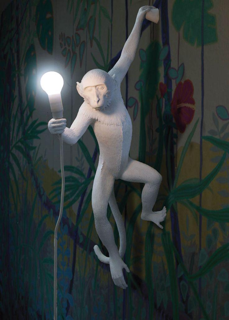 Lampe de table Monkey Sitting / H 32 cm Blanc - Seletti