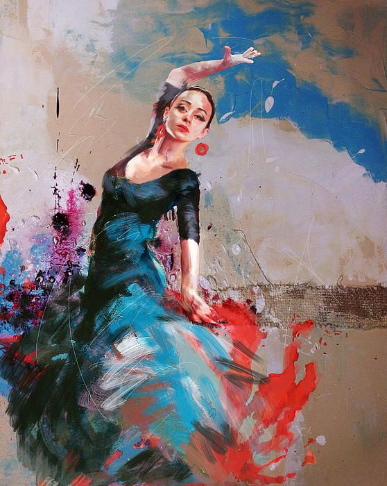 Painting of a flamenco dancer | Art by Maryam Mughal http://fineartamerica.com/profiles/1-catf.html