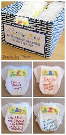 "Baby shower idea: ""The shower guests are each given a few diapers"