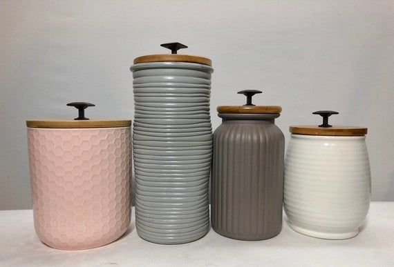 White Textured Kitchen Canisters