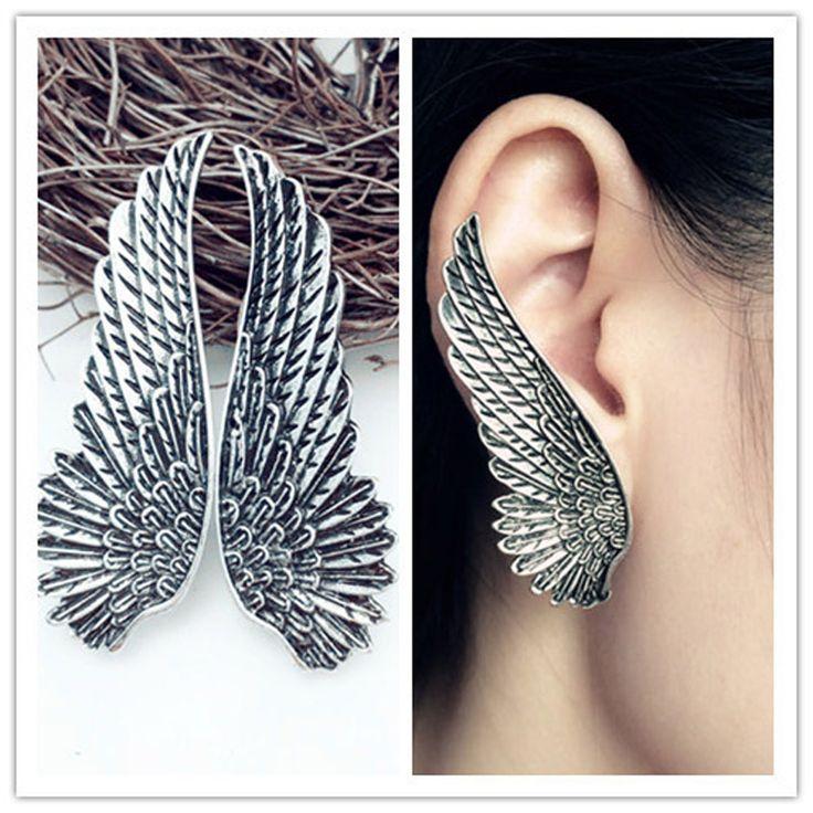 Nueva moda de joyería de plata antigua plateó el ala de plumas clip de regalo pendiente del perno prisionero para las mujeres de la muchacha fresca al por mayor E2655