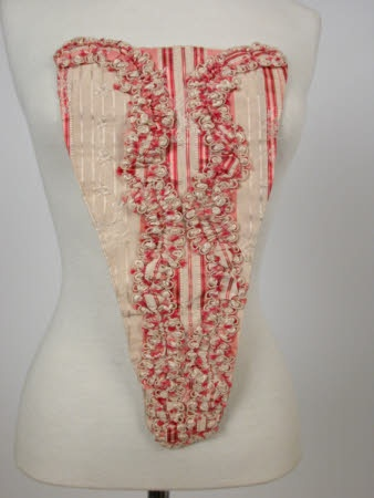 stomacher with pink and white striped taffeta ribbons