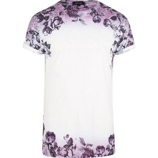 River Island White and purple floral fade T-shirt ($18) ❤ liked on Polyvore featuring men's fashion, men's clothing, men's shirts, men's t-shirts, white, mens tall t shirts, faded glory men's shirts, j crew mens shirts, mens floral shirts and mens white floral shirt