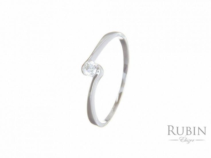 Cirkónia köves fehér arany gyűrű