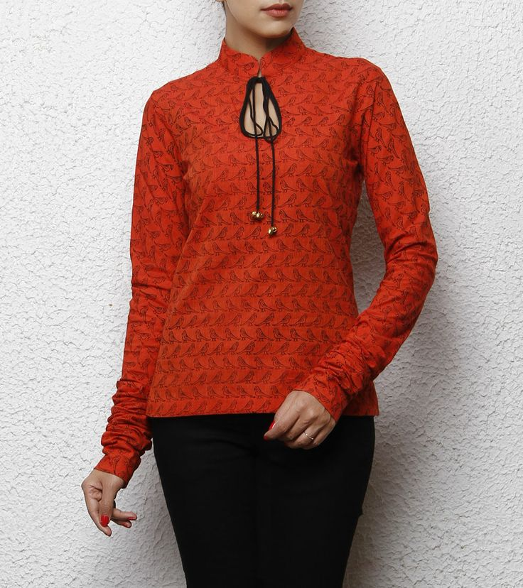 Orange South Cotton Top with Bird Prints, by ANS