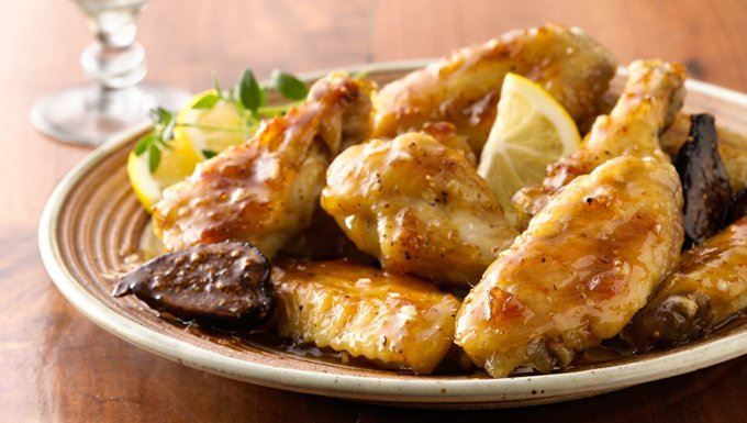 Add a sophisticated touch to your game-day spread and serve these chicken wings, enveloped with a sauce made of fig jam, fresh lemon slices and snappy white-wine vinegar. Perfect for people who don't do spicy, but still want in on the wing party.