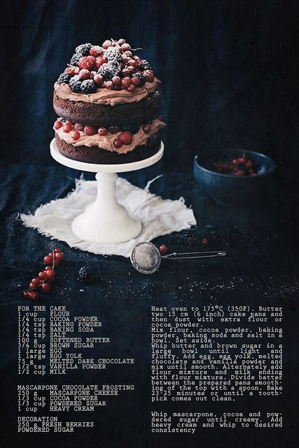 this reminded me of Kendalls idea to use a dark burgundy b/g or for dessert shot. (the contrast of the dark with the berries) c h o c o l a t e . m a s c a r p o n e . c a k e