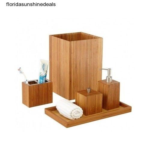 Bamboo Bathroom Vanity Sink Toothbrush Holder Towel Tray Trashcan Soap Dispenser Bath Accessories