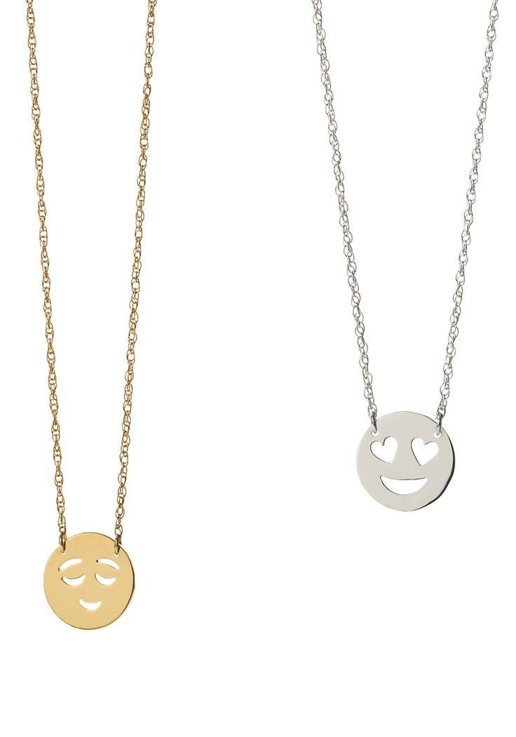 Welcome to nameplate jewelry 2.0: pendant necklaces featuring your choice of nine emojis. Wear one—or layer on a few for days when verbal communication is just too much.
