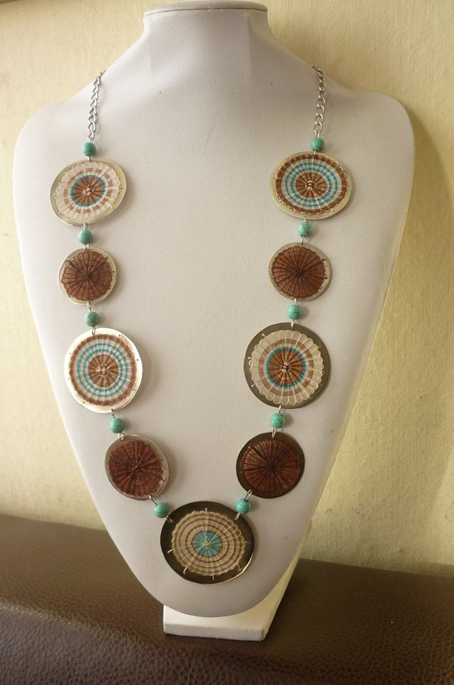 Collar tejido en crin con perlas de turquesa JOYAS MANDRÁGORA
