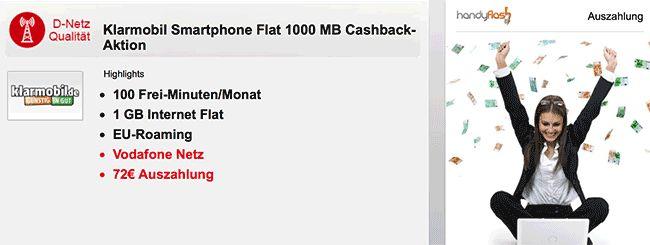 Vodafone Netz ► 1GB Handyvertrag mit 100 Freiminuten für 4,95€ http://www.simdealz.de/vodafone/klarmobil-smartphone-flat/