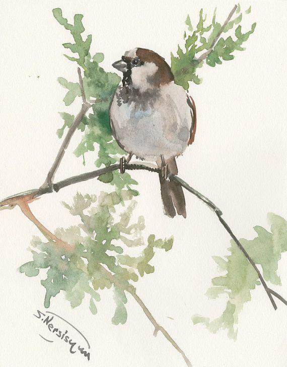 Sparrow art, bird painting, original watercolor brid painting, 10 X 8 in