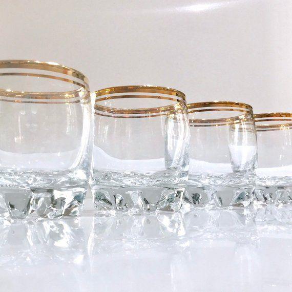 Gold Rim Gles Vintage Glware