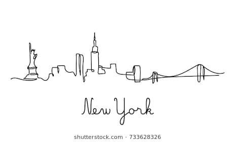 line york skyline simple modern drawing vector shutterstock tattoo nyc minimalistic silhouette drawings royalty newyork henna