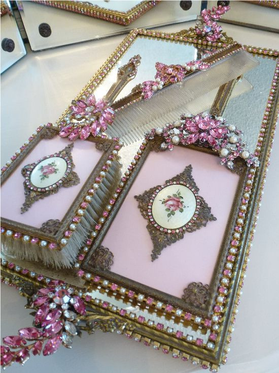 Antique Pink Rose Ormolu Dresser Set 4 Pcs.  From The Collection  By Debbie Del Rosario-Weiss, Juliana,brush, comb, vintage, Clock,tray, mirror, perfume, antique, vintage, victorian, Sparkle, Eisenberg, Judy Lee,