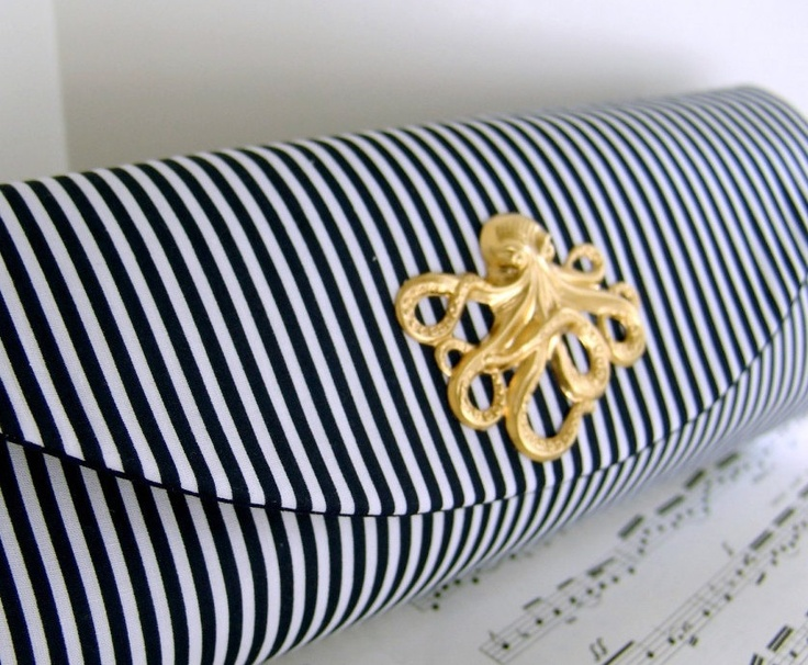 Nautical navy blue clutch bag with gold octopus, striped clutch, bridesmaid clutch, nautical wedding. Made to order. $35.00, via Etsy.