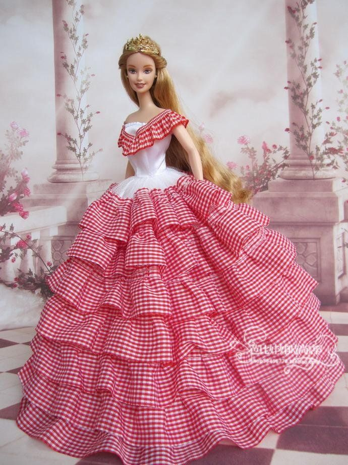 Elegant Victorian Party Barbie, Plaid Lace Dress Gown