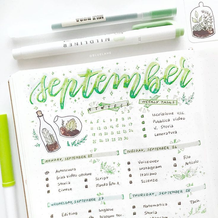 "5,590 Likes, 38 Comments - Yu Bullet Journal, Studygram (@bluelahe) on Instagram: ""Happy Sunday! For this week I did a green spread, it's not one of my favourite colours but I love…"""