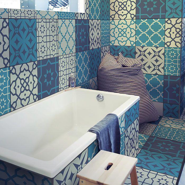 Verschönere dein Bad mit unseren #blauen #Fliesenfolien und selbstklebenden Bodenfliesen!