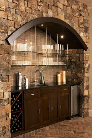 Bar design -- love the rustic feel