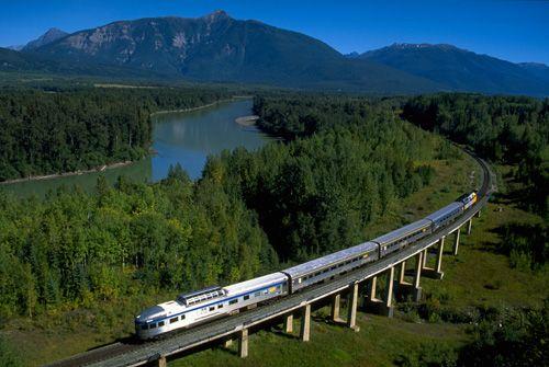 VIA Rail from Prince Rupert, BC to Jasper, Alberta. Gorgeous views, especially in autumn.