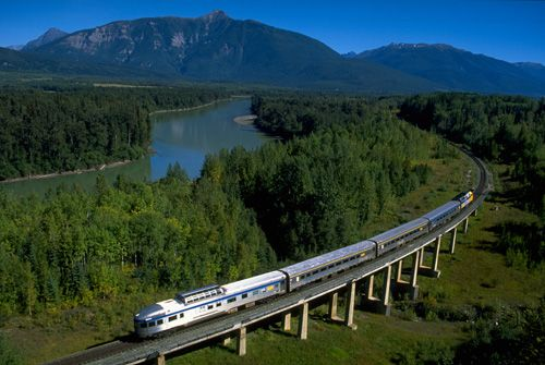 VIA Rail from Prince Rupert, BC to Jasper, Alberta. Gorgeous views, especially in autumn.