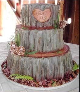 INSP: tree trunk wedding cake