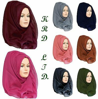 Details about Ladies Plain Hijab Maxi Large Viscose/Rayon Shawl Scarf Sarong Wrap Big Cape UK