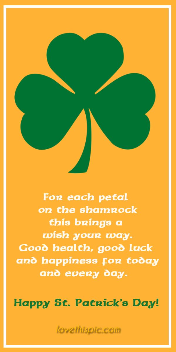 Shamrock happiness blessing luck pinterest health pinterest quotes irish shamrock st. patrick's day quotes st. patty's day