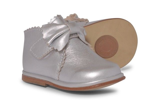 Baby Girls Silver Leather Velcro Boot