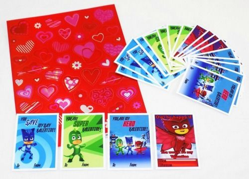 PJ Masks Valentine's Day cards for kids. Includes 28 cards and 50 stickers.