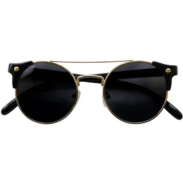 Iyu Design Sunglasses With Black/gold Frames Uv3 Lenses - Margot found on Polyvore featuring accessories, eyewear, sunglasses, glasses, black, gold lens sunglasses, gold sunglasses, lens sunglasses, lens glasses and gold glasses