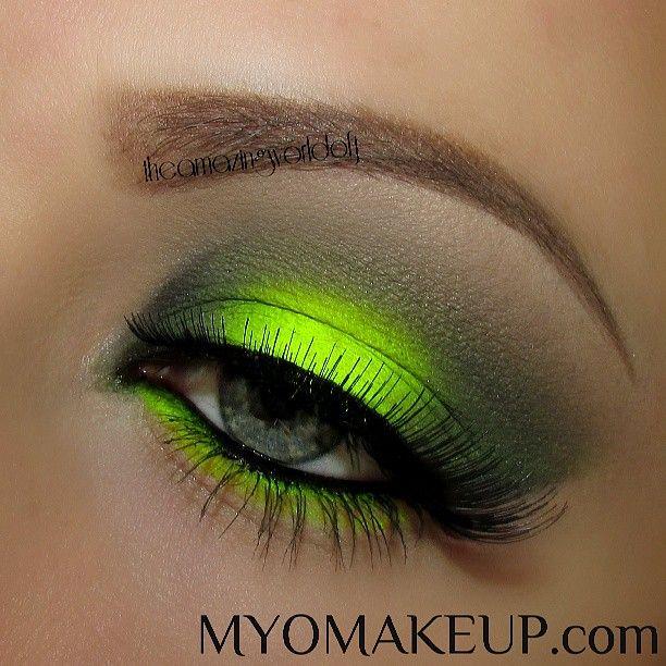 Neon yellow eyeshadow  #vibrant #smokey #bold #eye #makeup #eyes