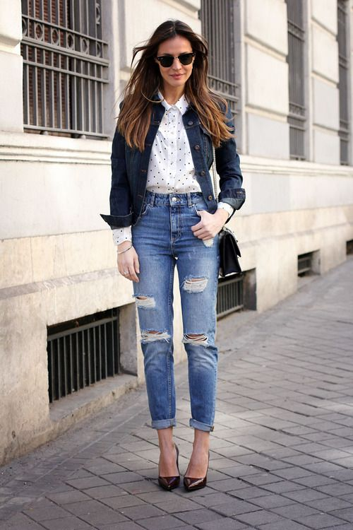 Shop this look for $117:  http://lookastic.com/women/looks/navy-denim-jacket-and-white-and-black-button-down-shirt-and-blue-jeans-and-dark-brown-heels/1849  — Navy Denim Jacket  — White and Black Polka Dot Button Down Shirt  — Blue Ripped Jeans  — Dark Brown Leather Pumps